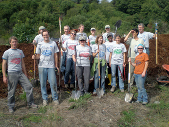Windward volunteers at one of their recent riparian habitat restoration projects